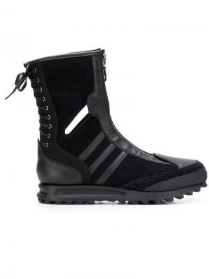 Ботинки YOHJI YAMAMOTO X ADIDAS на молнии и шнуровке. Цвет: черный