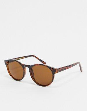 Круглые солнцезащитные очки в черепаховой оправе -Коричневый цвет A.Kjaerbede