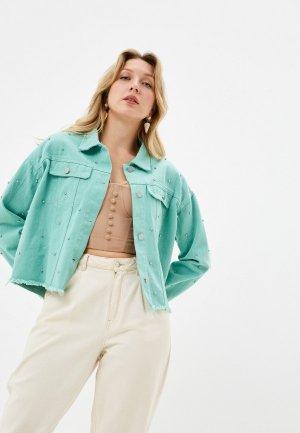 Куртка джинсовая Euros Style. Цвет: бирюзовый