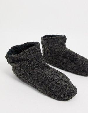 Вязаные «косичками» носки-слиперы на флисовой подкладке черного цвета -Черный цвет Lindex