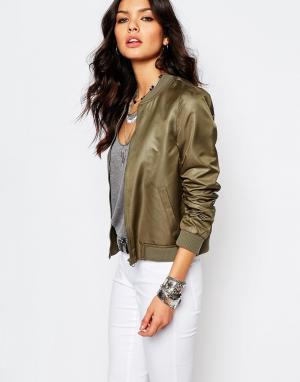 Блестящая куртка-пилот Noisy May. Цвет: зеленый