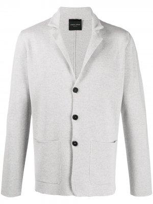 Трикотажный пиджак с карманами Roberto Collina. Цвет: серый