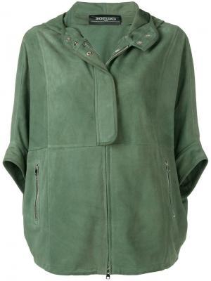 Кожаная куртка свободного кроя Simonetta Ravizza. Цвет: зеленый