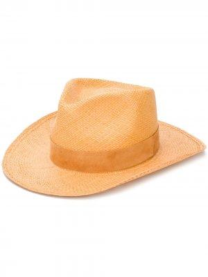 Плетеная шляпа-федора Super Duper Hats. Цвет: оранжевый
