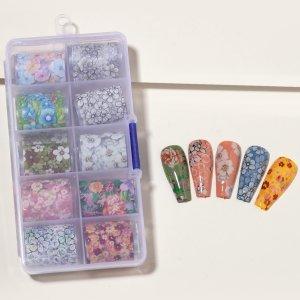 10 рулонов Стикер для ногтей с цветочным узором ящиком хранения 1шт SHEIN. Цвет: многоцветный