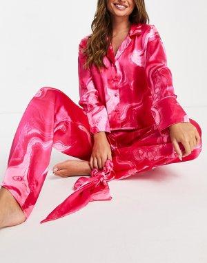 Розовая oversized-пижама с рубашкой, брюками и резинкой для волос мраморным принтом -Розовый цвет ASOS DESIGN
