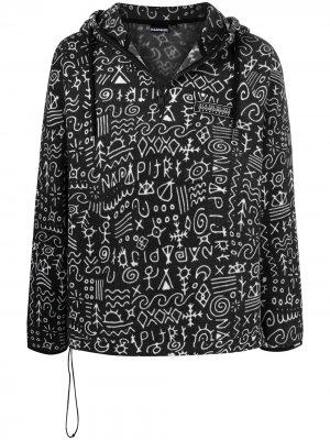 Куртка с капюшоном и принтом Napapijri. Цвет: черный