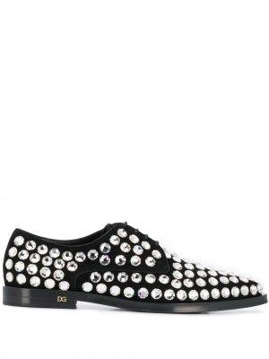 Дерби со стразами Dolce & Gabbana. Цвет: черный
