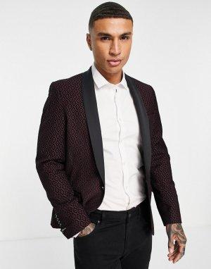 Бордовый пиджак с геометрическим набивным узором флок черного цвета -Красный Twisted Tailor