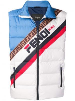 Пуховый жилет дизайна колор-блок с логотипом Fendi. Цвет: белый