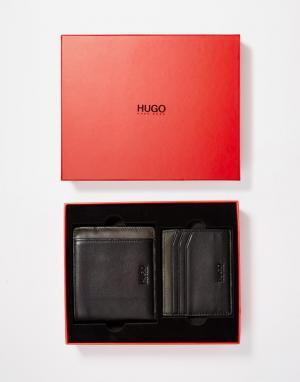 Подарочный набор с кожаным бумажником и визитницей Gurnio Hugo Boss. Цвет: черный