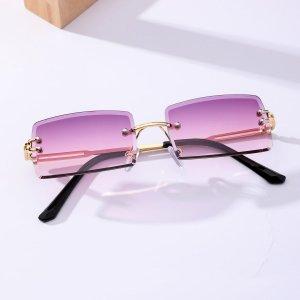 Мужские солнцезащитные очки без оправы с тонированными линзами SHEIN. Цвет: пурпурный