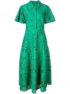 Кружевное платье с узором Badgley Mischka. Цвет: зеленый