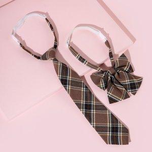 1шт Галстук в клетку и галстук-бабочка для девочек SHEIN. Цвет: многоцветный