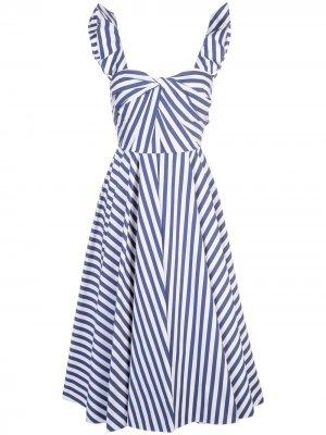 Расклешенное платье в полоску Jason Wu Collection. Цвет: синий