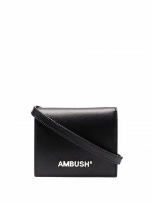 Кошелек на кнопке AMBUSH. Цвет: черный