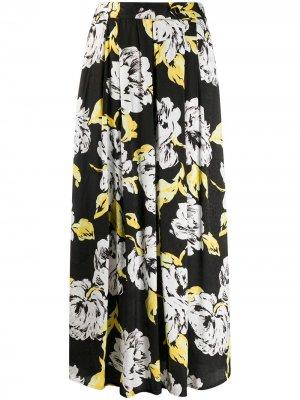 Юбка со складками и цветочным принтом Gestuz. Цвет: черный