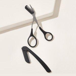 Триммер и ножницы для бровей 2шт SHEIN. Цвет: чёрный