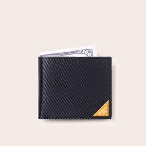 Маленький кошелек для мужчин с графическим рисунком SHEIN. Цвет: чёрный