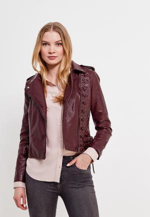 Куртка кожаная Imocean IM007EWASDE2. Цвет: бордовый