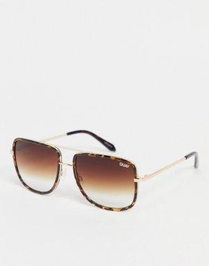 Черепаховые солнцезащитные очки унисекс в стиле «навигатор» Quay All In-Коричневый Australia