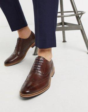 Коричневые кожаные броги с натуральной подошвой -Коричневый цвет ASOS DESIGN