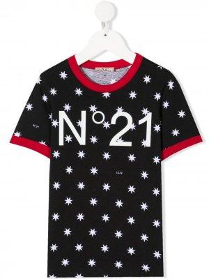 Футболка с логотипом Nº21 Kids. Цвет: черный