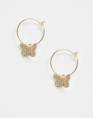 Золотистые серьги-кольца с подвесками-бабочками ASOS DESIGN-Золотой