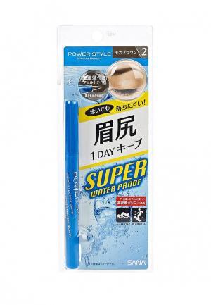 Подводка для бровей Sana жидкая водостойкая  серо-коричневая. Цвет: коричневый