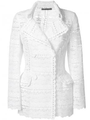 Жакет с вышивкой Ermanno Scervino. Цвет: белый