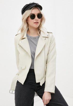 Куртка кожаная Sela. Цвет: белый