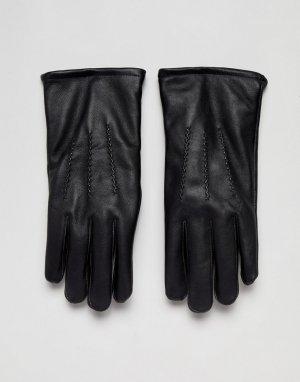 Классические черные кожаные перчатки French Connection. Цвет: черный