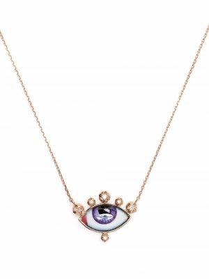 Кольцо Greek Eye из розового золота с бриллиантами Lito. Цвет: розовый