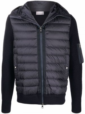 Куртка с дутыми вставками и капюшоном Moncler. Цвет: синий