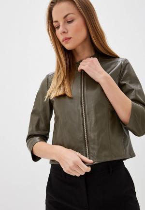 Куртка кожаная Max&Co DENOTARE. Цвет: хаки