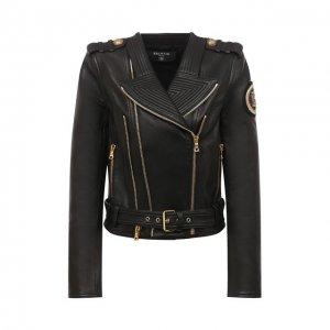 Кожаная куртка Balmain. Цвет: чёрный