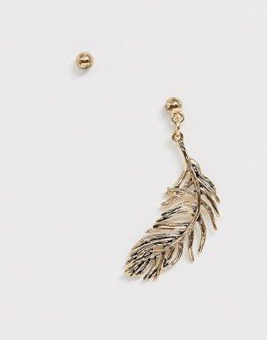 Золотистая серьга с подвеской-пером -Золотой ASOS DESIGN