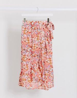 Юбка миди с цветочным принтом и оборками -Красный Monki