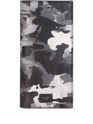Бумажник с камуфляжным принтом Dolce & Gabbana. Цвет: черный
