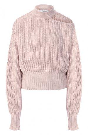 Пуловер из смеси хлопка и шерсти self-portrait. Цвет: светло-розовый