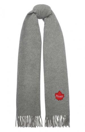 Шерстяной шарф Dsquared2. Цвет: серый