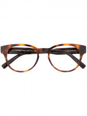 Солнцезащитные очки в оправе черепаховой расцветки Ermenegildo Zegna. Цвет: коричневый