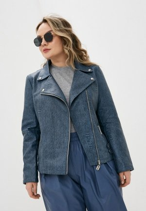 Куртка кожаная Chic de Femme. Цвет: синий