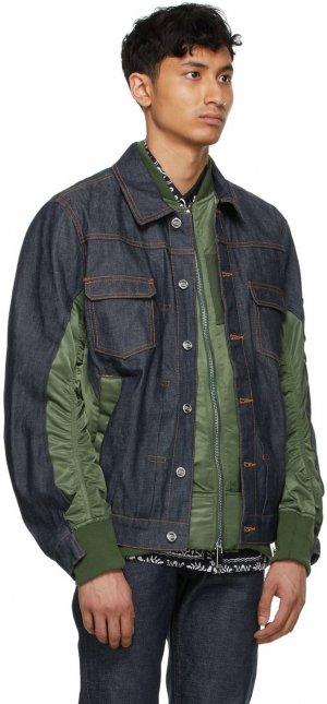 Navy & Khaki Sacai Edition Eimi Denim Jacket A.P.C.. Цвет: jaa khaki