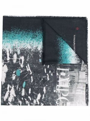 Large graphic print scarf Emporio Armani. Цвет: серый