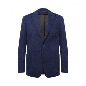 Пиджак из шерсти и хлопка Canali. Цвет: синий