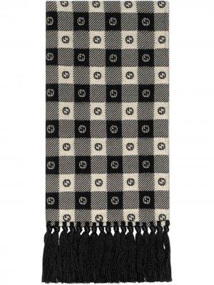 Шарф в клетку с логотипом Interlocking G Gucci. Цвет: черный