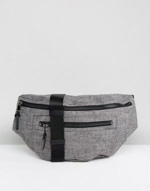 Серая сумка-кошелек на пояс из шамбре New Look. Цвет: серый
