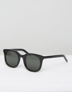 Черные солнцезащитные очки в квадратной оправе Ace Han Kjobenhavn. Цвет: черный