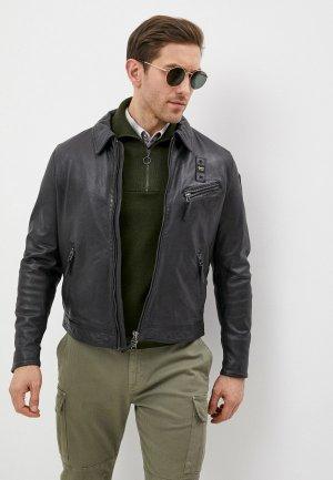 Куртка кожаная Blauer USA. Цвет: синий